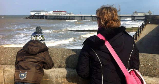 Little Man & I contemplate the very choppy sea at Cromer.