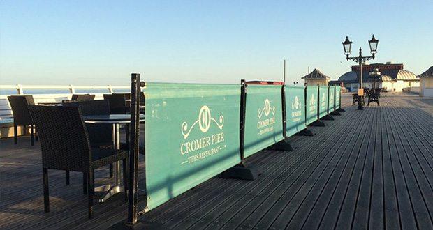 The outside decking for Tides Restaurant on Cromer Pier.