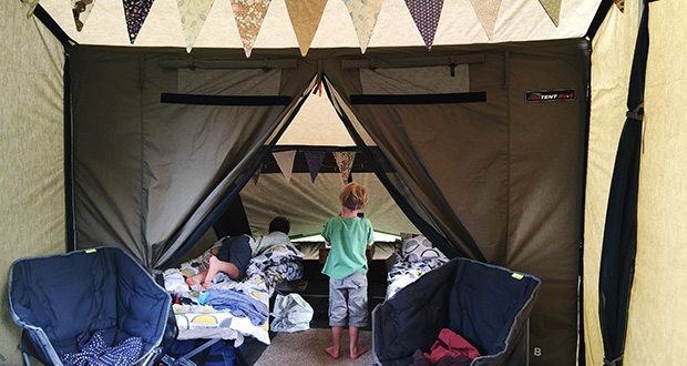 Family glamping on the north Norfolk coast.